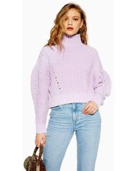 TOPSHOP - Pleated Funnel Jumper - Lyst