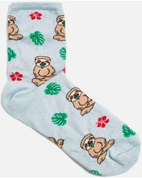 TOPSHOP - Sloth And Floral Socks - Lyst