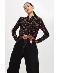 TOPSHOP - Floral Fringe Shirt - Lyst