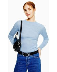 TOPSHOP - Yoke Ribbed Knitted Top - Lyst
