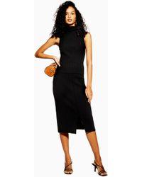 309fa8a931 TOPSHOP Deep Pleat Midi Skirt in Black - Lyst