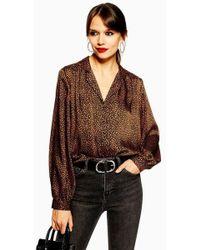 9407a03906d6c4 TOPSHOP - Jessica Print Shirt (regular & Petite) - Lyst