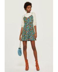 TOPSHOP - Ditsy Button Mini Slip Dress - Lyst