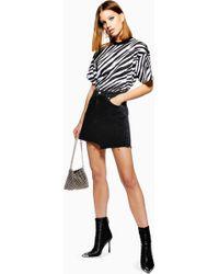 262de4d47b TOPSHOP - Asymmetric Black Denim Skirt - Lyst