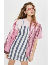 TOPSHOP - Moto Striped Pinafore Dress - Lyst