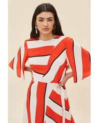 TOPSHOP - Diagonal Stripe Midi Dress - Lyst