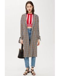 TOPSHOP - Check Duster Coat - Lyst