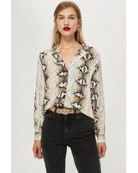 TOPSHOP - Snake Print Long Sleeve Shirt - Lyst