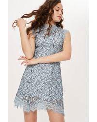 TOPSHOP - Lace Mini Flare Dress - Lyst