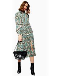 TOPSHOP - Python Pleated Shirt Dress - Lyst