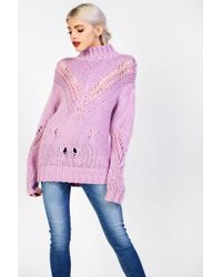 Glamorous - High Neck Distressed Knitted Jumper By - Lyst