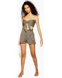 TOPSHOP - Khaki Tie Knot Bandeau And Shorts Co-ord - Lyst