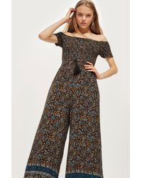 Band Of Gypsies - Shirred Bardot Jumpsuit By - Lyst
