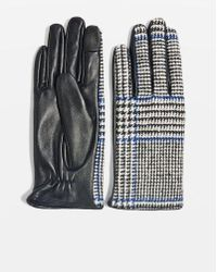 TOPSHOP - Check Leather Touchscreen Gloves - Lyst