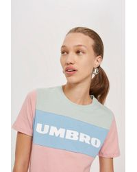 TOPSHOP - Colour Block Logo T-shirt By Umbro - Lyst