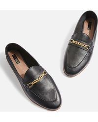 TOPSHOP - Wide Fit Chain Trim Loafers - Lyst