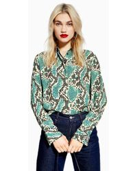 d440e5f3b30fed TOPSHOP Floral Print Frilled Ruffle Blouse in Blue - Lyst