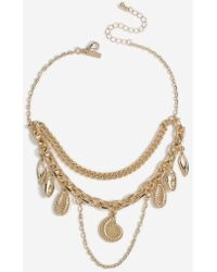 TOPSHOP - double Chain Shell Drop Choker - Lyst