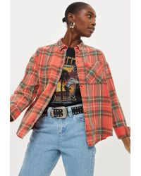 TOPSHOP - Washed Tartan Checked Shirt - Lyst