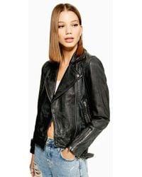 TOPSHOP - Leather Biker Jacket - Lyst