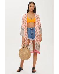 TOPSHOP - Key To Freedom Silk Kimono - Lyst