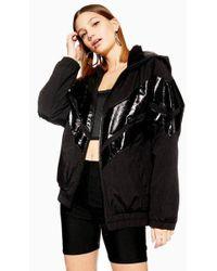 TOPSHOP - Black Patent Windbreaker Jacket - Lyst