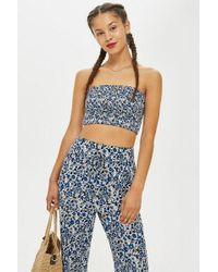 TOPSHOP - Printed Shirred Bandeau Top By Band Of Gypsies - Lyst