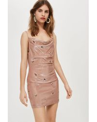 TOPSHOP - Embroidered Bronze Cowl Bodycon Dress - Lyst
