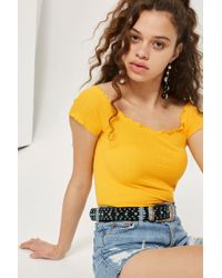b6a83e6d81900 Lyst - Topshop Floral Frill Off-shoulder Top in White