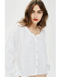TOPSHOP - Gauzy Button Down Shirt - Lyst