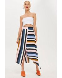 TOPSHOP - Petite Multi Stripe Asymmetric Midi Skirt - Lyst