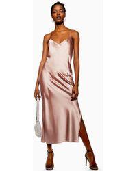 TOPSHOP - Plain Satin Slip Dress - Lyst