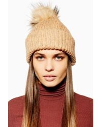 TOPSHOP - Knitted Faux Fur Pom Pom Beanie - Lyst