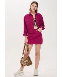 TOPSHOP - Tall Raspberry Denim Skirt - Lyst