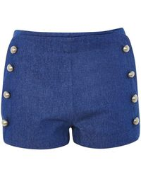 Wyldr - Stevie Blue Denim Double Breasted Shorts By - Lyst