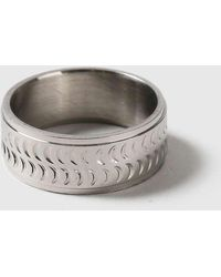 TOPSHOP - Tomboy Engraved Stainless Ring - Lyst