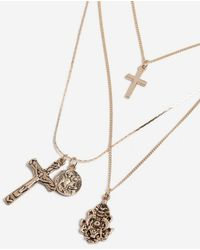 TOPSHOP - cross Charm Multi-row Necklace - Lyst