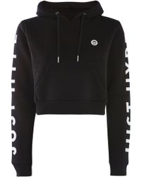 Hype - Black Cropped Cut Out Hoodie By - Lyst