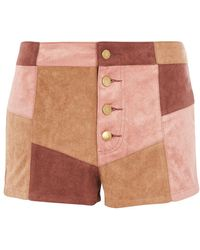 Wyldr - Patchwork Faux Suede Shorts By - Lyst