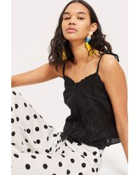 TOPSHOP - Broderie Cami Top - Lyst