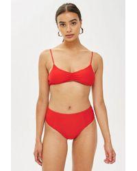 TOPSHOP - Red High Waisted Bikini Bottoms - Lyst