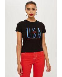 TOPSHOP - Usa Neat T-shirt - Lyst