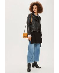 TOPSHOP - Leather Biker Jacket - Lyst