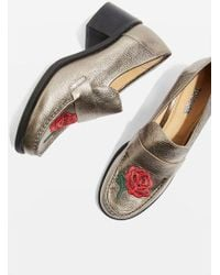 TOPSHOP - Krayon Embroidered Loafers - Lyst
