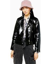 TOPSHOP - Black Faux Leather Vinyl Jacket - Lyst