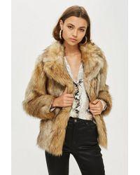 TOPSHOP - Petite Faux Fur Coat - Lyst