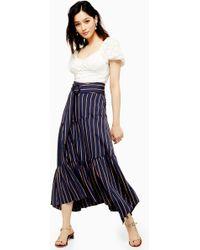 TOPSHOP Stripe Tiered Maxi Skirt