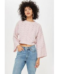 TOPSHOP - Stitch Detail Cropped Jumper - Lyst