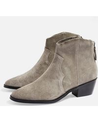 TOPSHOP - wide Fit Betty Western Boots - Lyst
