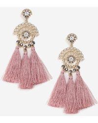 TOPSHOP - Rhinestone Tassel Drop Earrings - Lyst
